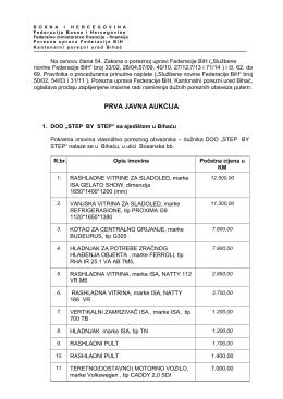 Prva javna aukcija - Porezna uprava FBiH