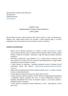Izvješće o radu Ogranka u 2015. godini