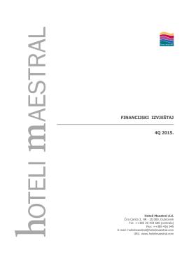 Četvrti kvartal 4Q., nerevidirano, nekonsolidirano, 2015. godina PDF