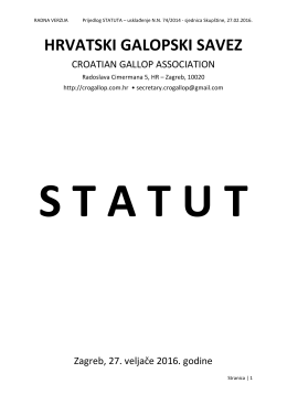 Statut HGS - HRVATSKI GALOPSKI SAVEZ (HGS / CGA)