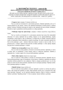 Pregled propisanih motoričkih testova kao i kriterij za ocjenjivanje