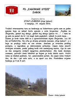 "stolp ljubezni - PD ""Zagorske steze"""