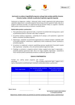 Obrazac A7 Javni poziv za prijavu trogodišnjih programa udruga