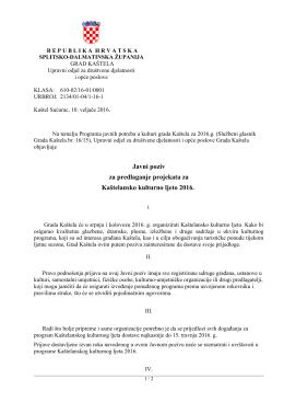 Javni poziv - Grad Kaštela