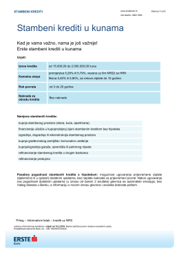 Stambeni kredit u kunama - Erste & Steiermärkische banka