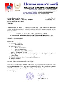 poziv - Hrvatski streljački savez