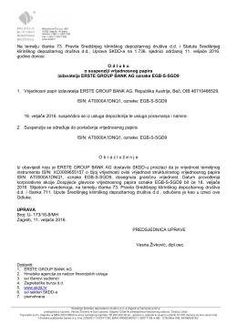 Erste Group Bank AG - Odluka SKDD-a o