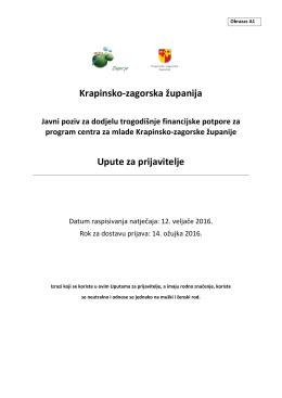 Krapinsko-zagorska županija Upute za prijavitelje