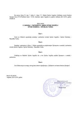Odluka o sadnji i partnerstvu između Općine Vogošća i Općine