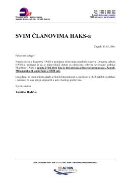 Info o održavanju Skupštine - Hrvatski Auto i Karting Savez