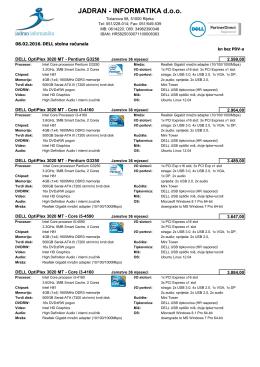 Sveukupan Dell cjenik - Jadran Informatika doo