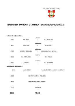 raspored završnih utakmica i zabavnog programa