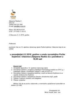 Poziv za 13. sjednicu UV 2016.