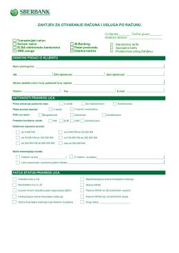 Zahtjev za otvaranje računa i usluga po računu