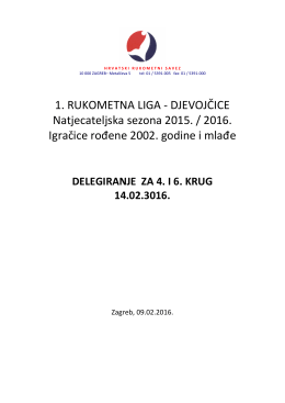 1. RUKOMETNA LIGA - DJEVOJČICE Natjecateljska sezona 2015