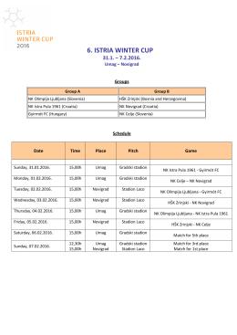 Raspored Natjecanja i skupine