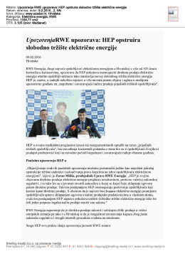 Naslov: Upozorenja RWE upozorava: HEP opstruira slobodno tržište