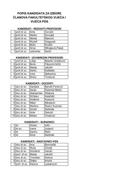 popis kandidata za izbore članova fakultetskog vijeća i vijeća pds