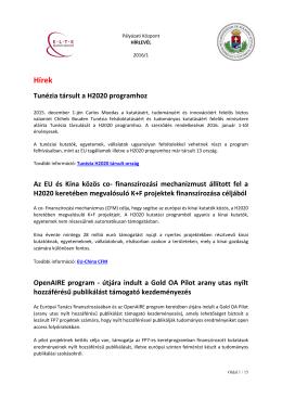 1. pályázati hírlevél 2016.01.21. - ELTE Pályázati és Innovációs