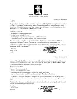 Spolek Egylet Prága, 2016. február 10. Meghívó Az Iglice Egylet