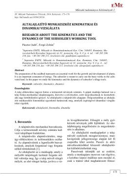 altalajlazító munkaeszköz kinematikai és dinamikai vizsgálata