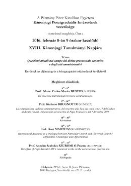 Meghívó a XVIII. Kánonjogi Tanulmányi Napra 2016.02.08.
