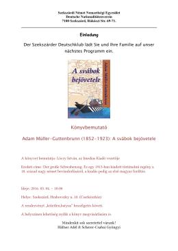 Könyvbemutató - Szekszárdi Német Nemzetiségi Önkormányzat