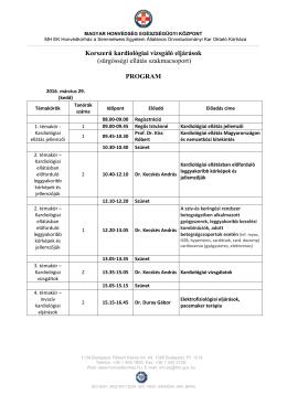 PROGRAM KORSZERŰ KARDIOLÓGIAI