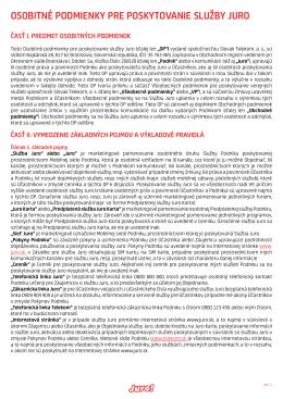 OsObitné pOdmienky pre pOskytOvanie služby JurO