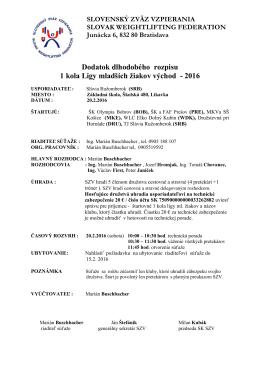 Dodatok rozpisu 1 kola Ligy ml. žiakov východ 2016