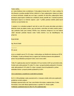 List predsedu Rady rodičov Ing. Mareka Glodiča