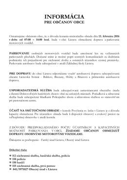 Informácie - Obec Hôrky