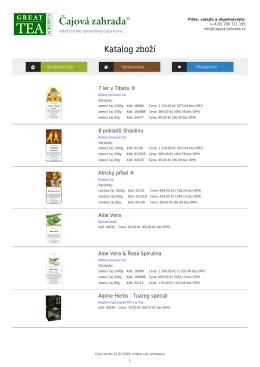 Katalog zboží - Čajová zahrada