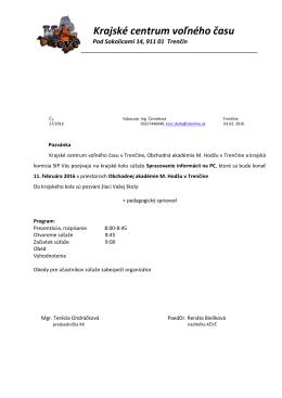 Krajské centrum voľného času, Hviezdoslavova 14, 911 01 Trenčín