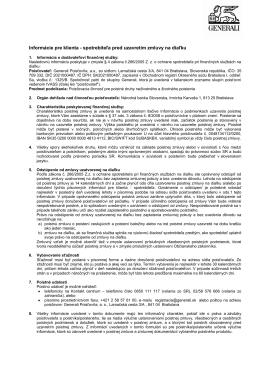 Informácie pre klienta - spotrebiteľa pred uzavretím zmluvy na diaľku