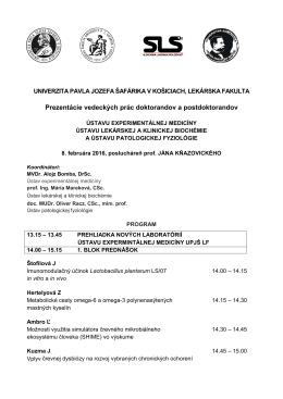 Prezentácie vedeckých prác doktorandov a postdoktorandov