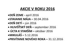 AKCIE V ROKU 2016