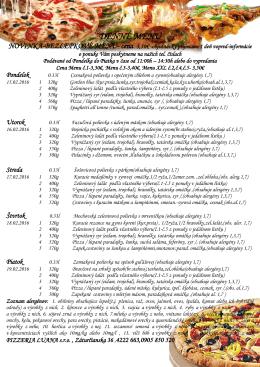 Denné menu - Pizza Luana