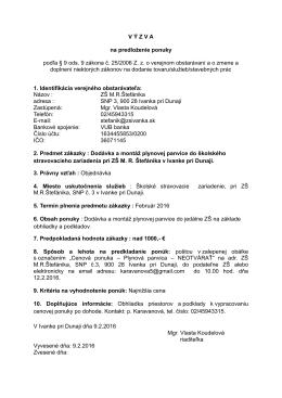 Výzva na predloženie ponuky - Základná škola MR Štefánika v