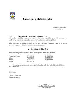 Oznámenie o uložení zásielky pre: Ladislav Bojnický, rok nar. 1962