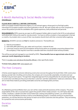 6 Month Marketing & Social Media Internship