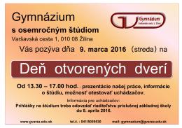 Deň otvor. dverí - Gymnázium Varšavská cesta 1