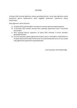 duyuru - Rize İl Milli Eğitim Müdürlüğü