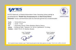 ENTES Elektronik ve Elektrik Mühendisleri Odası Gaziantep