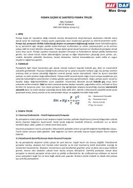 pompa seçimi ve santrifüj pompa tipleri