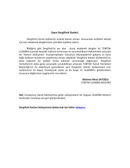 DergiPark Katılım Sözleşmesi