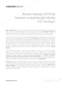 Biesse Xylexpo 2016`da herkesin erişebileceği fabrika 4.0`ı tanıtıyor