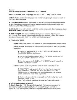 A. Single Operator / Tek Operatör Kategorileri: Tüm