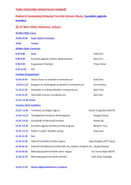 Çocukluk çağında tromboz 26-27 - Türk Pediatrik Hematoloji Derneği
