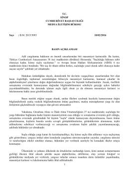 Sinop Cumhuriyet Başsavcılığımızın 10.02.2016 tarihli Basın